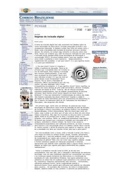 Dogmas da inclusão digital - Faculdade de Comunicação da UFBA