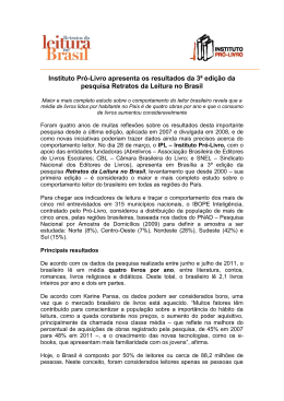 Instituto Pró-Livro apresenta os resultados da 3ª edição da pesquisa