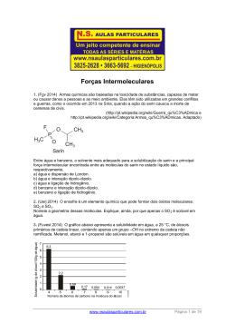 Atomística – Forças Intermoleculares