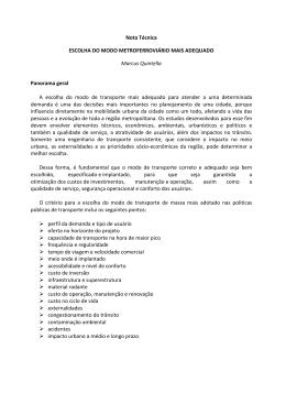Nota técnica elaborada por Marcus Quintella, em julho de 2014