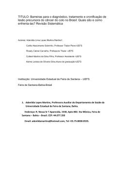TITULO: Barreiras para o diagnóstico, tratamento e