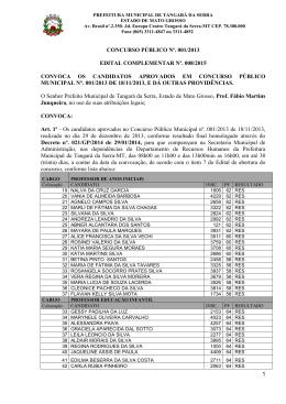 Edital Complementar 008/2015 - Convocação do Concurso 001/2013