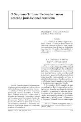 O Supremo Tribunal Federal e o novo desenho jurisdicional brasileiro