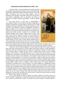 SOLENIDADE DE NOSSA SENHORA DO CARMO