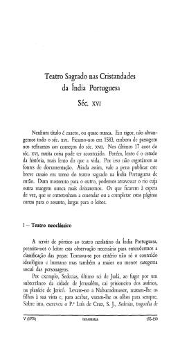 Teatro Sagrado nas Cristandades da índia Portuguesa Séc. xvi