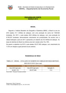 Pecuária de Corte - Secretaria da Agricultura e Abastecimento
