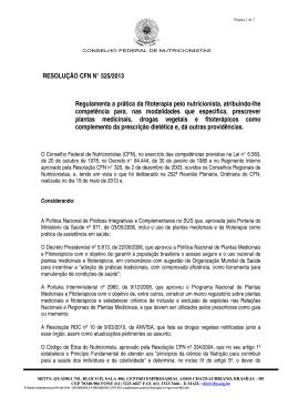 RESOLUÇÃO CFN N° 525/2013 Regulamenta a prática