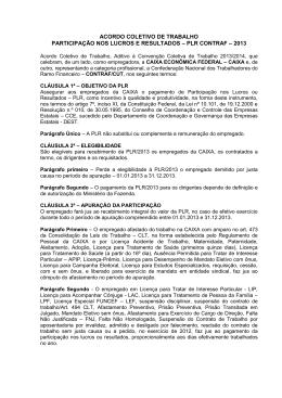 Acordo de Participação nos Lucros e Resultados - PLR