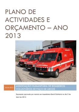 plano de actividades e orçamento – ano 2013