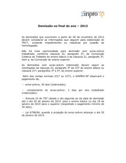 Demissão no final do ano – 2013 - sinpro-sp