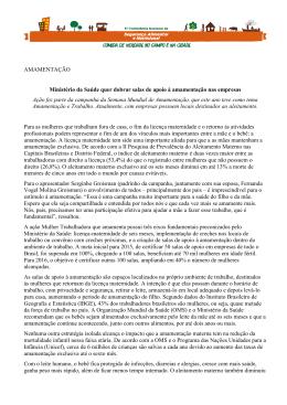 AMAMENTAÇÃO Ministério da Saúde quer dobrar salas de apoio à