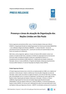 Presença e áreas de atuação do Sistema ONU em São Paulo