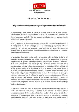 Projeto de Lei n.º 805/XII-4.ª Regula o cultivo de variedades