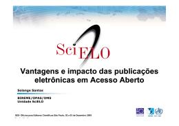 Vantagens e impacto das publicações eletrônicas, acesso aberto