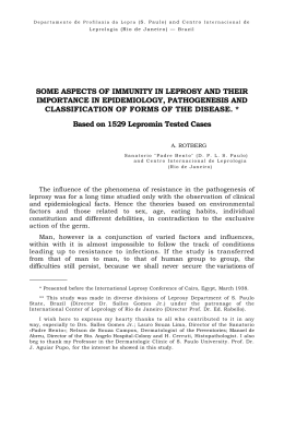 some aspects of immunity in leprosy and their importance