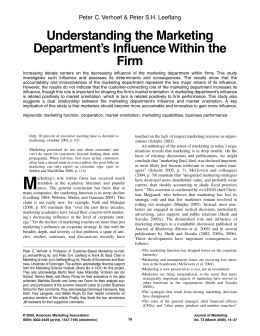 Understanding the Marketing Department`s Influence Within the Firm
