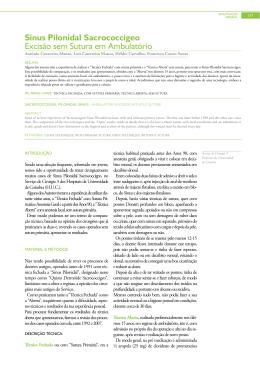 Sinus Pilonidal Sacrococcigeo Excisão sem Sutura em Ambulatório