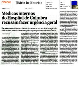 Médicos internos do Hospital de Coimbra recusam fazer urgência
