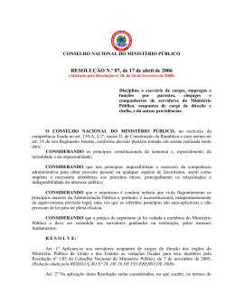 Resolução nº 007 - exercício de cargos - servidor