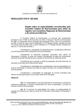 RESOLUÇÃO CFN nº 383/2006 - Conselho Federal de Nutricionistas