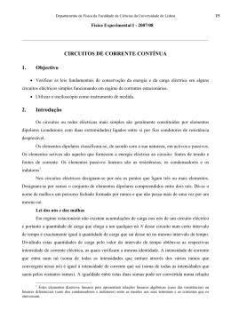 CIRCUITOS DE CORRENTE CONTÍNUA 1. Objectivo 2. Introdução