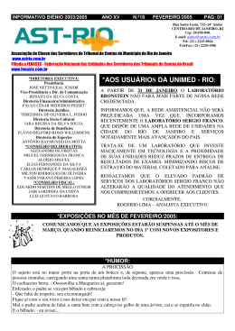 Informativo Biênio 2003/2005 No.18 - Fevereiro/2005 - AST-RIO