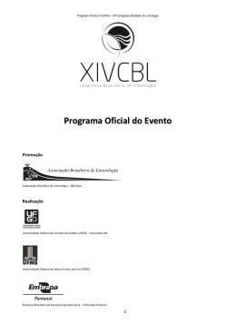 Programação - Associação Brasileira de Limnologia