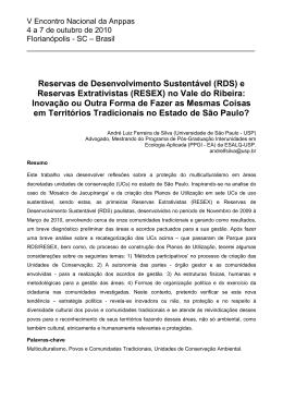 Artigo V ENANPPAS, Autor: André Luiz Ferreira da Silva