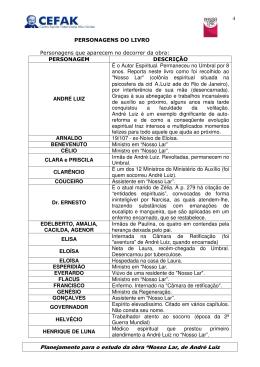 """Planejamento para o estudo da obra """"Nosso Lar, de André Luiz"""