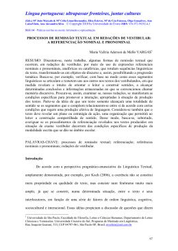 processos de remissão textual em relações de vestibular