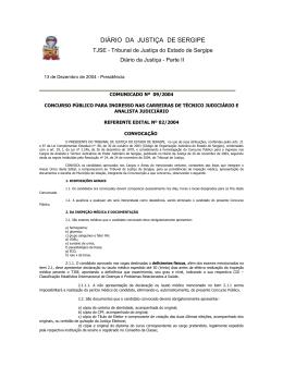 Comunicado 09/2004 - Tribunal de Justiça de Sergipe
