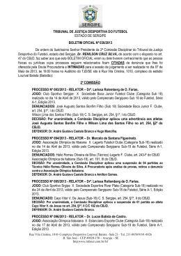 resultados tjd 07.04.2013 - Federação Sergipana de Futebol