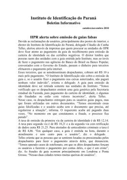 Instituto de Identificação do Paraná Boletim Informativo