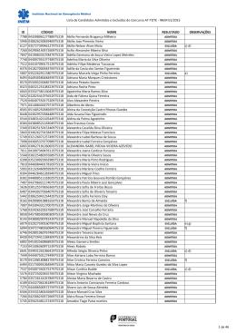 Lista de Candidatos Admitidos e Excluídos