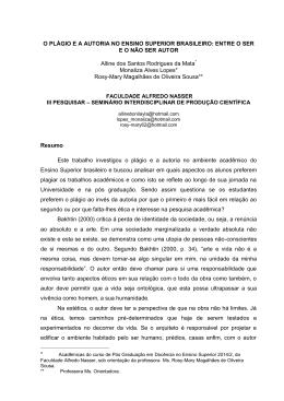 O PLÁGIO E A AUTORIA NO ENSINO SUPERIOR BRASILEIRO