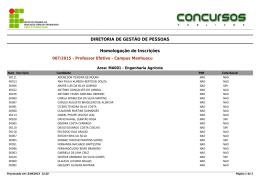 DIRETORIA DE GESTÃO DE PESSOAS Homologação de Inscrições