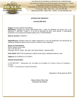 EXTRATO CONTRATO PROFESSOR 2012.2 - Anderson