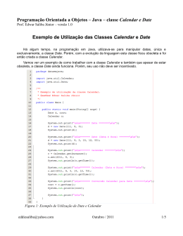 Exemplo de Utilização das Classes Calendar e Date