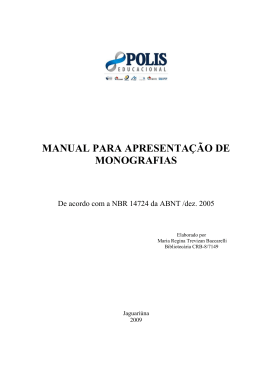 Manual para apresentação de monografias