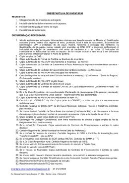REQUISITOS: SOBREPARTILHA DE INVENTÁRIO