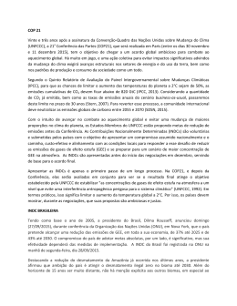 COP 21 Vinte e três anos após a assinatura da Convenção