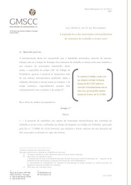Nota Informativa 9/2013 - Lei 76/2013, de 07 de Novembro