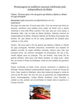 Matéria do jornal Correio da Bahia, do dia 03 de julho sobre o
