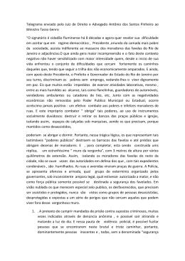 Antônio dos Santos Pinheiro ao Ministro Tasso Genro.
