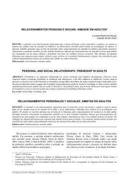 RELACIONAMENTOS PESSOAIS E SOCIAIS: AMIZADE