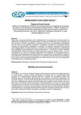 MOBILIDADE E EXCLUSÃO SOCIAL Mobility and social exclusion