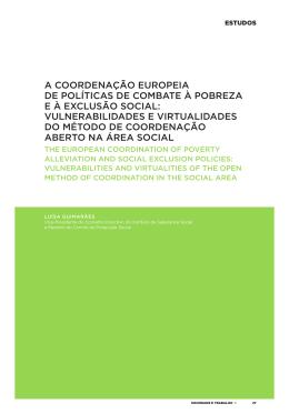 A coordenação europeia de políticas de combate à pobreza e à