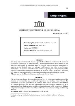 acolhimento institucional e o serviço social