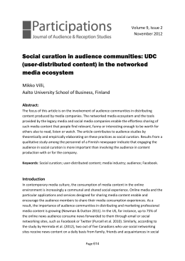 Social curation in audience communities: UDC (user
