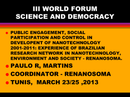 III WORLD FORUM SCIENCE AND DEMOCRACY